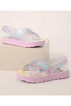 GRENDENE Menina Sandálias - Sandália Infantil LOL Surprise com Glitter Lilás