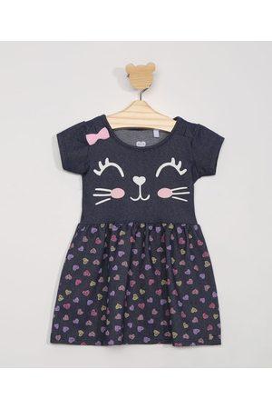 BABY CLUB Menina Vestido Estampado - Vestido Infantil Manga Curta Gatinho Estampado Médio