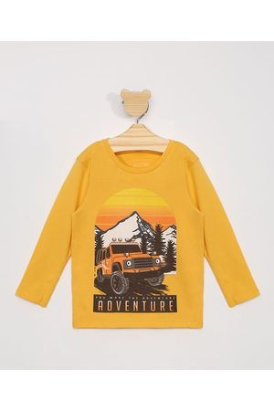 BABY CLUB Menino Camisolas de Manga Larga - Camiseta Infantil Manga Longa Carro e Paisagem Amarela