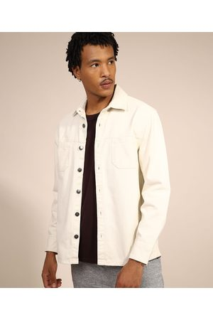 Clockhouse Homem Camisa Formal - Camisa de Sarja Masculina Overshirt com Bolsos Off White