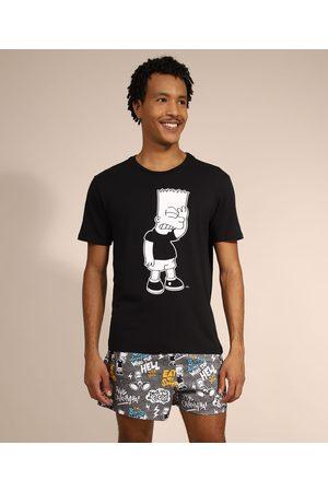 Os Simpsons Pijama Masculino Bart Simpson Manga Curta Preto