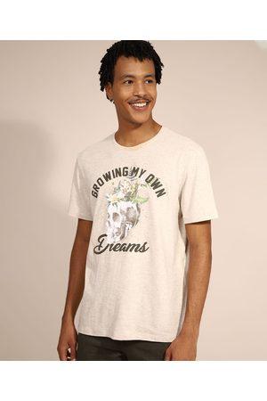 "Clockhouse Homem Camisolas de Manga Curta - Camiseta Masculina Growing My Own Dreams"" Manga Curta Gola Careca Off White"""
