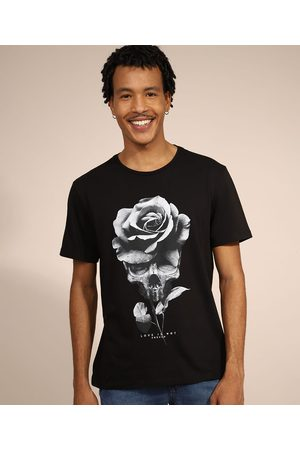 Clockhouse Camiseta Masculina Manga Curta Caveira com Rosa Gola Careca Preta