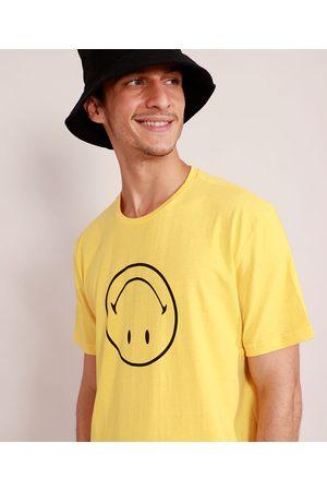 Smiley Camiseta Masculina Manga Curta Gola Careca Amarela
