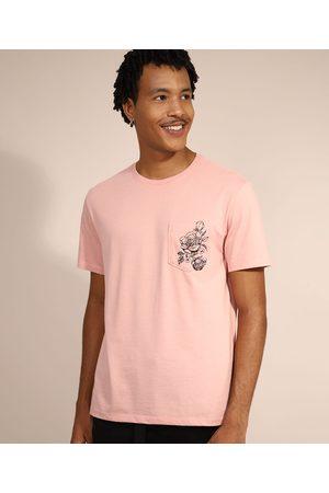 Clockhouse Camiseta Masculina Manga Curta Rosas com Bolso Gola Careca