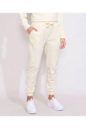 ACE Mulher Calça de Esporte - Calça de Plush Feminina Esportiva Jogger com Bolsos Off White