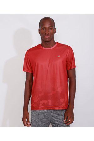 ACE Homem Manga Curta - Camiseta Masculina Manga Curta Esportiva Gola Careca com Estampa Camuflada Degradê Vermelha