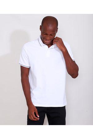 Basics Homem Camisa Pólo - Polo Masculina Básica em Piquet Comfort com Bordado Manga Curta Branca
