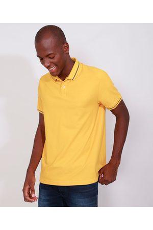 Basics Homem Camisa Pólo - Polo de Piquet Masculina Básica Comfort Manga Curta Mostarda