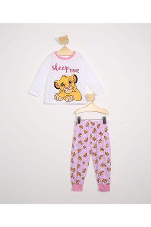 Disney Menina Pijamas - Pijama Infantil Simba Manga Longa Off White