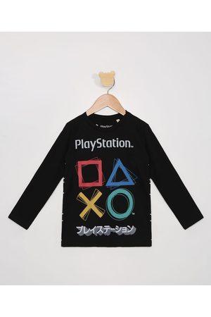 Playstation Camiseta Infantil Manga Longa com Relevo Preta