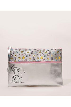 Snoopy Mulher Necessaire - Nécessaire Feminina Prateada