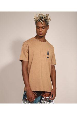 Suncoast Homem Camisolas de Manga Curta - Camiseta Masculina Manga Curta Árvore Gola Careca Caramelo