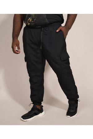 Clockhouse Homem Calças Cargo - Calça de Nylon Masculina Plus Size Jogger Cargo com Cinto Preta