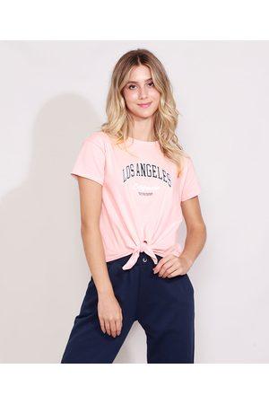 "Clockhouse Camiseta Feminina Los Angeles"" Manga Curta Decote Redondo com Nó Claro"""