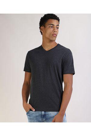Basics Camiseta Masculina Básica Manga Curta Gola V Mescla Escuro