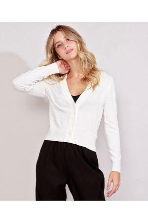 Basics Mulher Cardigã - Cardigan de Tricô Feminino Básico Off White