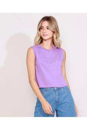 Basics Mulher Blusas tipo Regata - Regata Feminina Muscle Tee com Pregas Decote Redondo Lilás