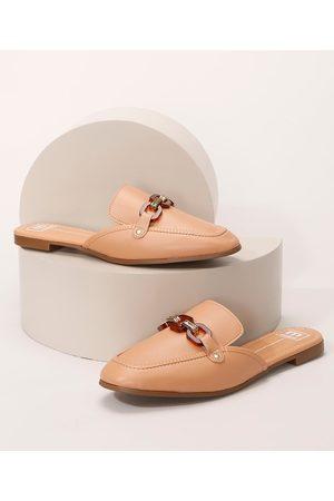 MOLECA Mulher Sapato Mule - Mule Feminino Bico Quadrado com Aviamento