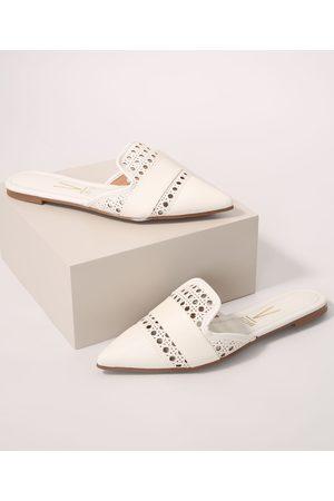 VIZZANO Mulher Sapato Mule - Mule Feminino Bico Fino com Detalhes Vazados