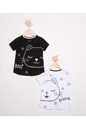"PALOMINO Kit de 2 Blusas Infantis Manga Curta Gatinha Best Friends"" Multicor"""
