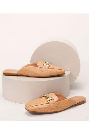 VIZZANO Mulher Sapato Mule - Mule Feminino Croco Bico Quadrado com Aviamento