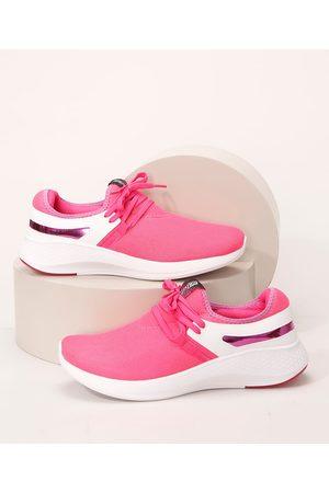 Actvitta Mulher Tênis - Tênis Feminino Knit com Cadarço e Faixa Metalizada Pink