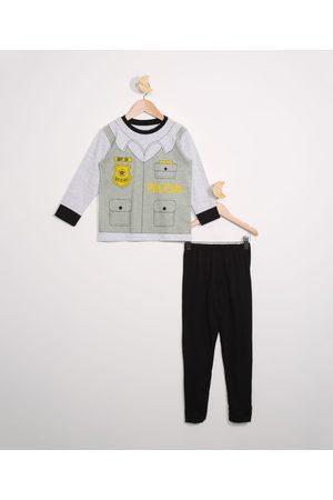 Palomino Pijama Infantil Manga Longa Policial Mescla