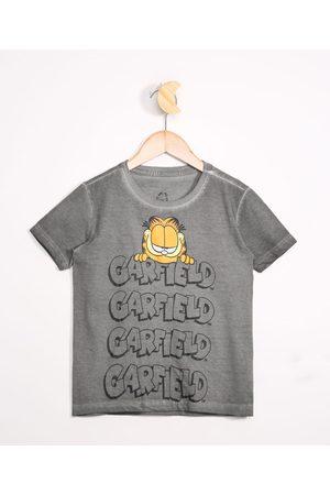 Garfield Camiseta Infantil Manga Curta Chumbo