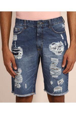 Clockhouse Bermuda Jeans Masculina Slim Destroyed Escuro