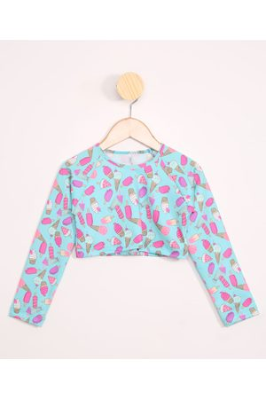 PALOMINO Blusa de Praia Infantil Cropped de Sorvetes Raglan com Proteção UV50+ Azul