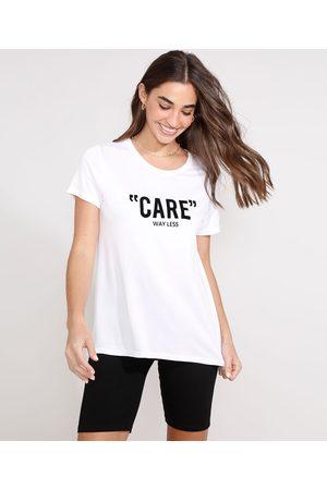 """Clockhouse Camiseta Care"""" Flocada Manga Curta Decote Redondo Branca"""""""