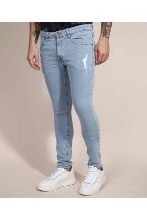 Clockhouse Calça Skinny Jeans Moletom com Puídos Claro