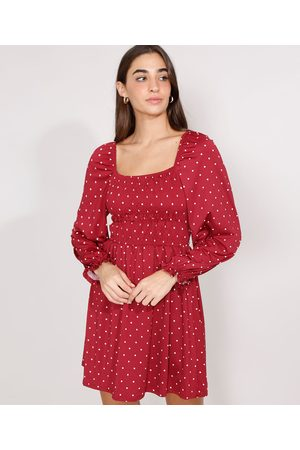 YESSICA Vestido de Poá com Lastex Curto Manga Bufante Vermelho