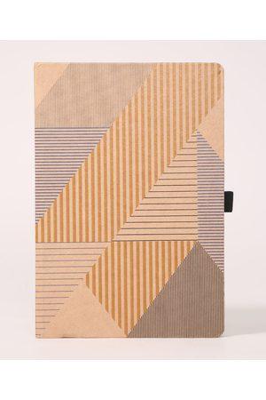 C&A Caderno Capa Dura Sem Pauta Geométrico com Elástico Bege