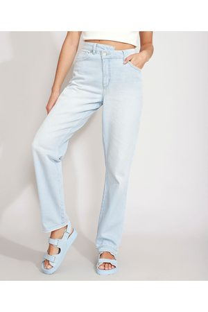 Clockhouse Calça Reta Jeans Cós Assimétrico Cintura Super Alta Claro