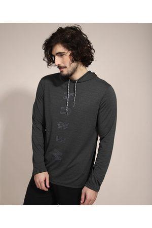 ACE Camiseta Esportiva Manga Longa com Capuz Mescla Escuro