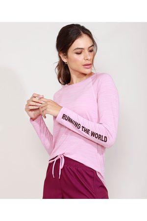"ACE Mulher Camiseta - Blusa Esportiva Running The World"" Manga Longa Decote Redondo Lilás"""