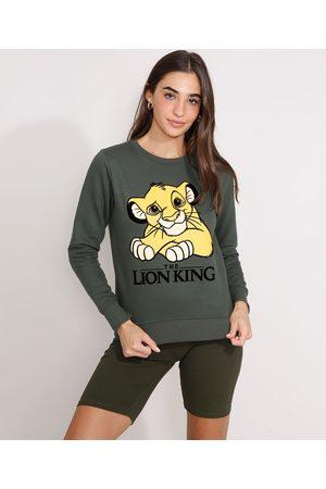 Disney Mulher Moletom - Blusa de Moletom Simba O Rei Leão Flocada Decote Redondo Militar