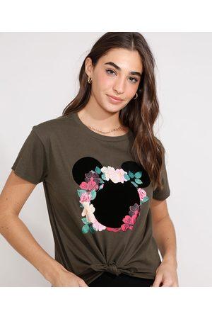 Disney Mulher Camiseta - Camiseta Cropped de Algodão Minnie Flocada com Nó Manga Curta Decote Redondo Militar