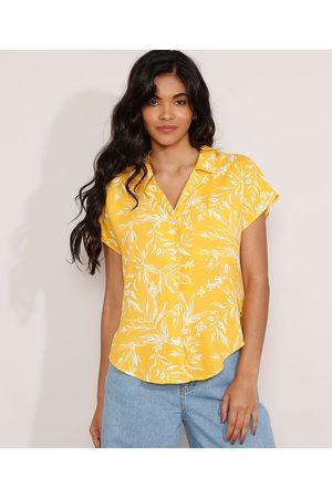 YESSICA Camisa Feminina Manga Curta Estampada de Folhagem com Bolso Amarela