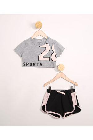 "PALOMINO Menina Shorts Esportivos - Conjunto Infantil de Blusa Manga Curta Cropped Sports"" Mescla + Short Running Preto"""