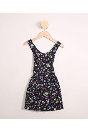PALOMINO Menina Vestido Estampado - Vestido Infantil Floral Cavado Alça Largas Azul Marinho
