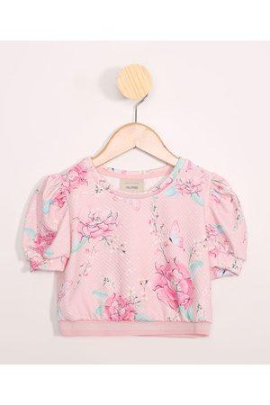 PALOMINO Menina Blusa - Blusa Infantil Cropped Estampada Floral Manga Bufante Decote Redondo Rosa
