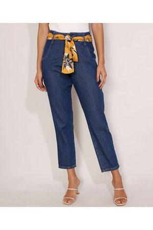 YESSICA Calça Mom Jeans Cintura Super Alta com Lenço Escuro