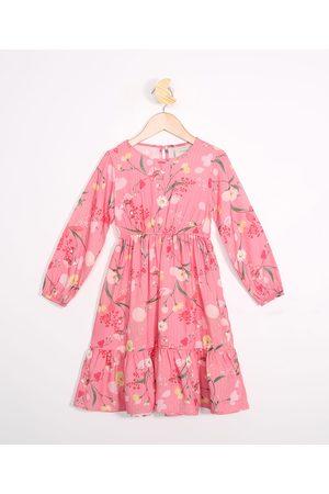 PALOMINO Menina Vestido Estampado - Vestido Infantil Floral Manga Bufante Rosa