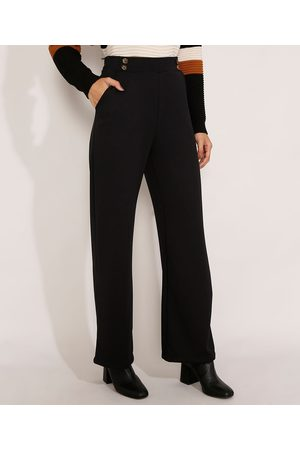 Basics Mulher Calça Cintura Alta - Calça Pantalona Cintura Alta com Botões Preta