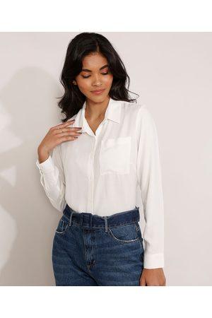 Basics Mulher Camisa Casual - Camisa de Viscose Básica Manga Longa com Bolso Off White