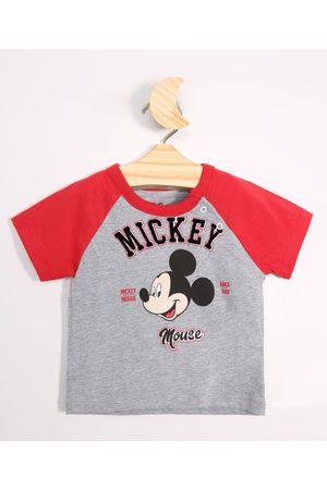 Disney Menino Camisolas de Manga Curta - Camiseta Infantil Raglan Mickey Manga Curta Mescla