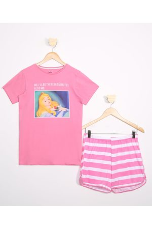 Disney Menina Pijamas - Pijama Juvenil Bela Adormecida Manga Curta Rosa